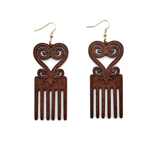 Flybloom Women Girls Wooden Comb Heart Shape African Style Long Dangle Earrings,Dark Brown