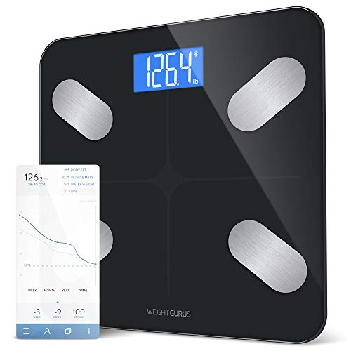 GreaterGoods Smart Scale, Bluetooth Connected Body Weight Bathroom Scale, BMI, Body Fat, Muscle Mass, Water Weight (Black Stainless)