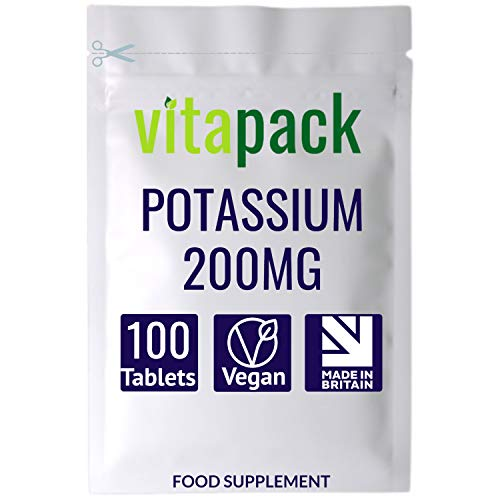 Potassium 200mg Tablets - 100 Pack - Supports Normal Blood Pressure, Muscle Function & Nervous System Function - Suitable for Vegetarians & Vegans - Made in The UK