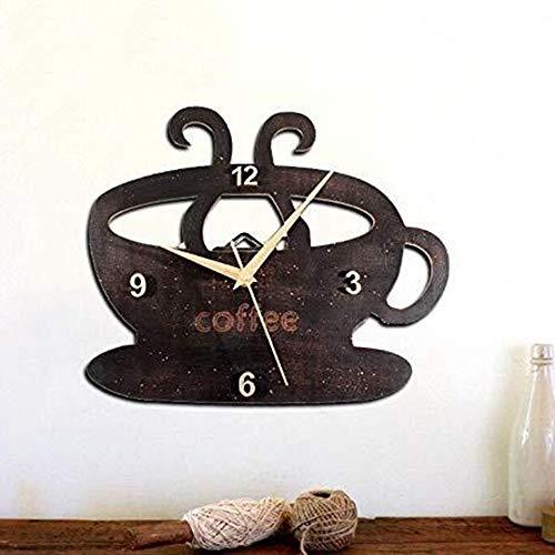 LCSD Reloj de Pared Madera Negra Taza De Café Reloj De Pared Reloj Artesanía Rural Rústico Decorativo Pared Vintage En Mal Estado