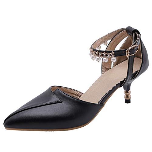 PIXIEFOOT Spangenpumps Damen Kitten Heels Pumps mit Pfennigabsatz Spitz Niedrig Schuhe