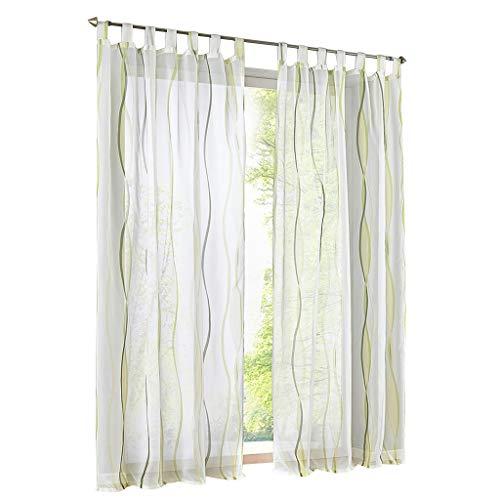 ESLIR Gardinen mit Schlaufen Vorhänge Gardinenschals Transparent Schlaufenschal Wellen Muster Voile Grün BxH 140x175cm 1 Stück