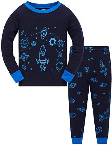 Jungen Schlafanzug Weihnachten Kinder Weltraum Pajama Langarm Herbst Winter Nachtwäsche 134 (Navy Rocket-6257 8T)