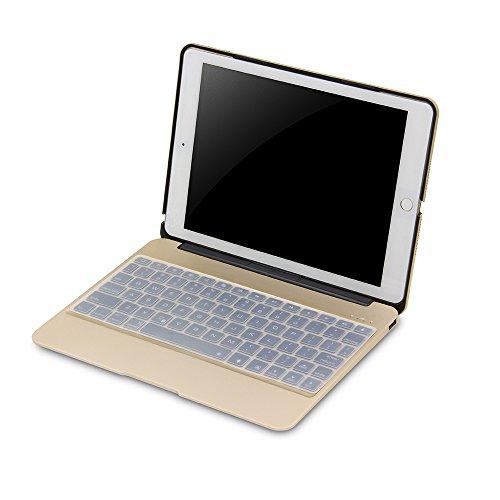 Rubility - Custodia in pelle con retroilluminazione Bluetooth da 9,7 pollici, per iPad Air2, colore: Oro