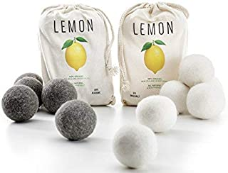 LEMON Wool Dryer Balls, All Natural, Eco-Friendly, Reusable Laundry Essentials, 12 Pack - 6 White and 6 Gray