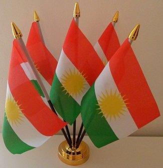 Kurdistan Koerden 5 Vlag Desktop Tafeldisplay Met Gouden Basis