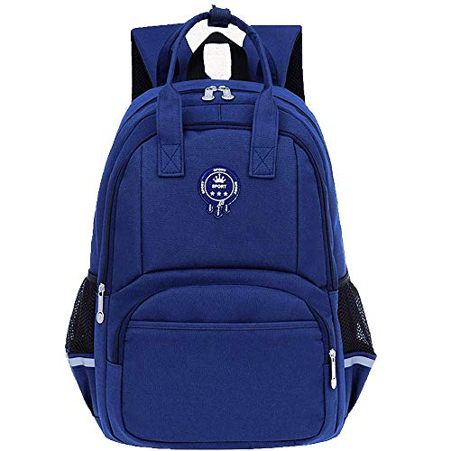 Kindergarten Kid Backpack Child Book Bag Durable School Bags Elementary Student Bookbags for Children with reflective stripe (Navy Blue, SMALL)