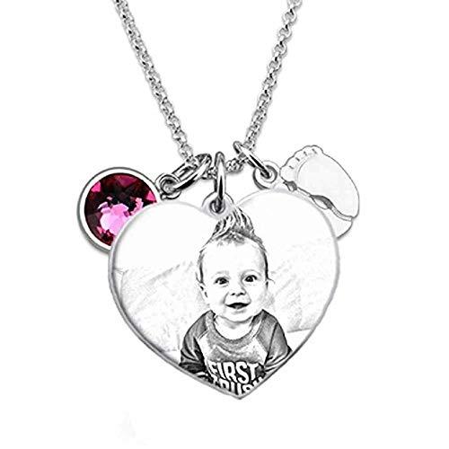 Souljewelry Collar Personalizado Grabado con Foto en Sombra Colgante Redondo Plata Ley 925 Collar de Plata Personalizar con Imagen y Palabras Regalo para recién Nacidos Hijos Padres Novio Amig