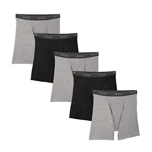 Fruit of the Loom Men's No Ride Up Boxer Brief, Black/Gray (5-Pack), Small