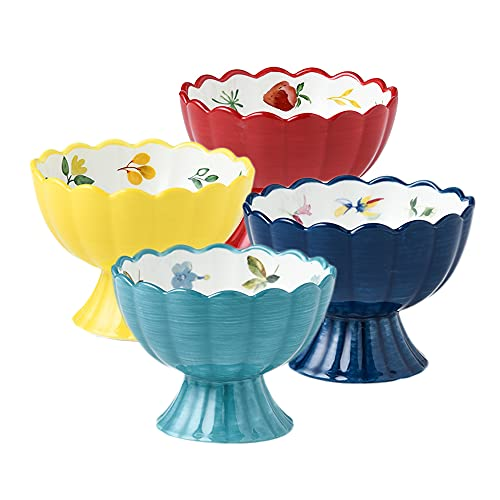 AWYGHJ Ice Cream Cup, Set of 4, 8 Ounce Ceramic Oven Safe Dessert Bowls, for Baking, Creme Brulee, Dessert, Pudding, Ice Cream, Snack, Souffle, Party Decoration