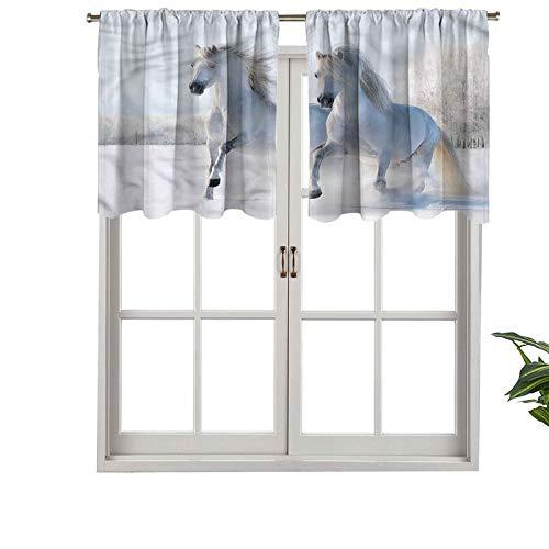 Hiiiman - Juego de 1 cenefas de cortina con dos sementales gallop sobre nieve, 137 x 45 cm, decoración del hogar para niños y niñas