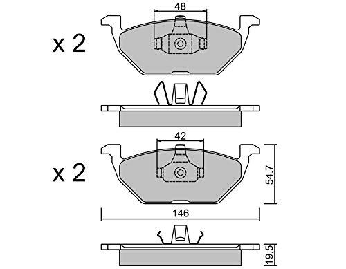 metelligroup 22-0211-1 Pastiglie Freno anteriori, Made in Italy, Pezzo di Ricambio per Auto   Automobile, Kit da 4 Pezzi, Certificate ECE R90, Prive di Rame