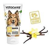 VETOCANIS Shampoing Poils Longs Démêlant pour Chien, 0% de Paraben 0% de Silicone, Shampoo Vanille Démêlage Facilité, Format 300ML