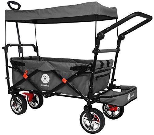 Miweba Faltbarer Bollerwagen MB-20 für Kinder - Bremse - Dach - Breitreifen - Transporttasche - Klappbar - UV-Beständig - Handwagen faltbar (Grau)