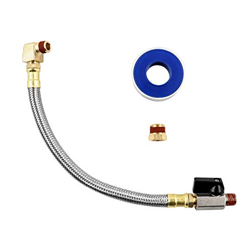 QWORK Extended Tank Drain Valve Assembly Kit for Air Compressor, Including 10 Inches Air Compressor Tank Drain Hose 1/4 inch NPT, 1/4