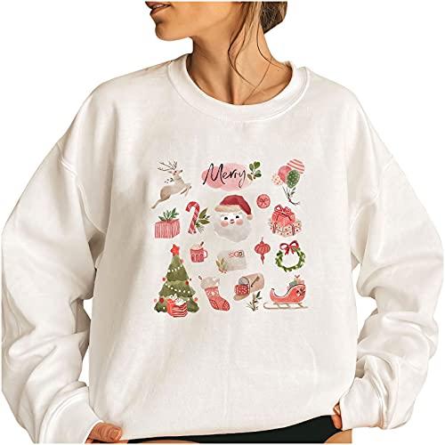 Wave166 Ugly - Sudaderas navideñas de invierno, diseño de renos, 2 blancos., L