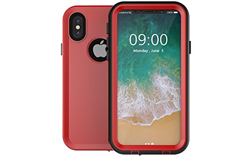 Redpepper-Waterproof Case Cover for iPhone X (2017) Snowproof Shockproof DirtProof Protection Cover Case (Red)
