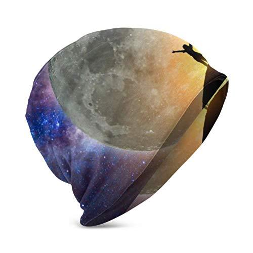 Unisex Beanie Hat Big Full Moon Milky Way Star 3D Niños Moda Beanie Caps