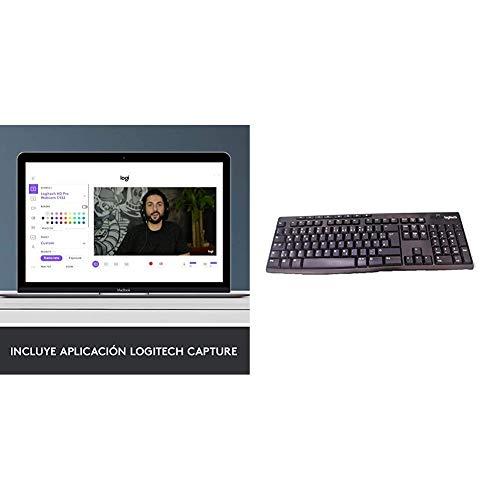 Logitech C920 HD PRO Webcam, Full-HD 1080p, Autofokus, Belichtungskorrektur + Logitech K270 Kabellose Tastatur, Wireless Verbindung, 8 Multimedia- und Schortcut-Tasten, Spritzwassergeschützt