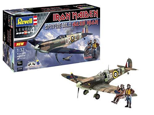 Revell 05688 Iron Maiden Fan-Edition Spitfire Mk.II Aces High originalgetreuer Modellbausatz, mit Basis-Zubehör, 28,6 cm, 1/32
