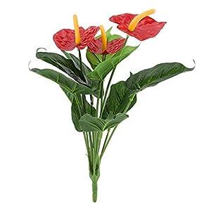 NCONCO Plastic Artificial Plant Flowers, Red Anthurium Flowers Bouquet for Wedding Home Garden Decor