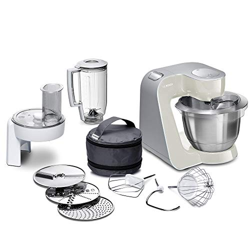 Bosch MUM5 CreationLine Küchenmaschine MUM58L20, Testsieger, vielseitig einsetzbar, große Edelstahl-Schüsssel (3,9l), Durchlaufschnitzler, 3 Scheiben, Mixer, 1000 W, grau/silber