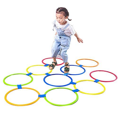 Juguetes educativos Hua Juguete Educativo De Rayuela para Niños, Juego De Equipo De Entrenamiento Físico De Equilibrio De Agilidad para Saltos En Interiores Y Exteriores, 3 Tamaños (Size : Large)