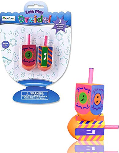 Let's Play Dreidel The Hanukkah Game 2 Multi Colored Extra Large Hand Painted Wood Dreidels - Instructions Included