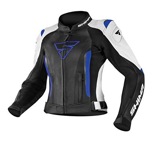 SHIMA MIURA JACKET BLUE, Sportschutz mit Armored Damen Motorrad Lederjacke (32-42, Schwarz/Weiß/Blau), Größe 40