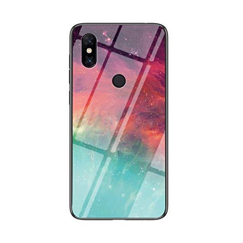 BRAND SET Handyhülle für Xiaomi Mi Mix 3 5G Transparent Farbe Sternenhimmel Muster Schutzhülle Gehärtete Glas Rückseite mit TPU-Kanten Stoßfeste Hülle für Xiaomi Mi Mix 3 5G-CSXK