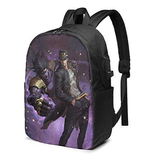 YHKC JoJo's Bizarre Adventure Novel Laptop Backpack USB Backpack 17 in