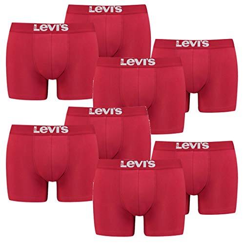8er Pack Herren Levis Solid Basic Boxer Brief Boxershorts Unterwäsche Pants, Farbe:186 - Chili Pepper, Bekleidungsgröße:L