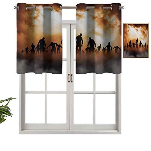 """Hiiiman Cortina corta con ojales para ventana, diseño de zombies muertos con texto en inglés """"Walking Body in the Doom Mist at Night Sky Haunted"""", juego de 2, 54 x 24 pulgadas para baño y cocina"""