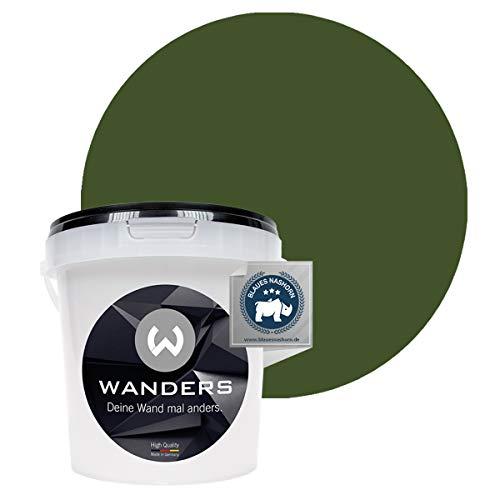 Wanders24® Tafelfarbe (1Liter, Khaki Grün) Blackboard Paint - Tafellack - abwischbare Wandfarbe - in 20 Farbtönen erhältlich - Made in Germany