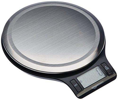 AmazonBasics Digitale Küchenwaage mit LCD-Anzeige (mit Batterien), Edelstahl, BPA-frei