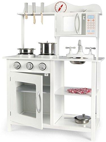 Leomark  Cocina Madera Infantil Cocina de Juguete Accesorios Para Niñas 60x30x85 Artículos Metálicos Estilo Escandinavo Clásico Microonda Color Clanco Classic