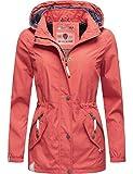 Marikoo Damen Übergangsjacke Outdoorjacke mit Kapuze Dein Kussmäulchen Koralle Gr. XL