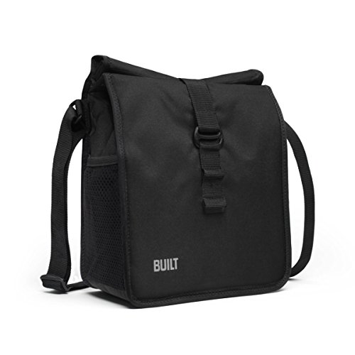 Built NY LBM02-BLK Crosstown Stain Resistant Insulated Lunch Bag with Adjustable Shoulder Strap, Black, 1 EA