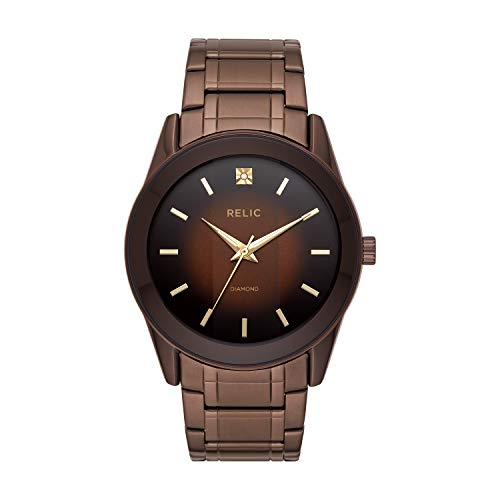 Relic by Fossil Men's Rylan Quartz Stainless Steel Diamond Accent Dress Watch, Color: Brown (Model: ZR77312)