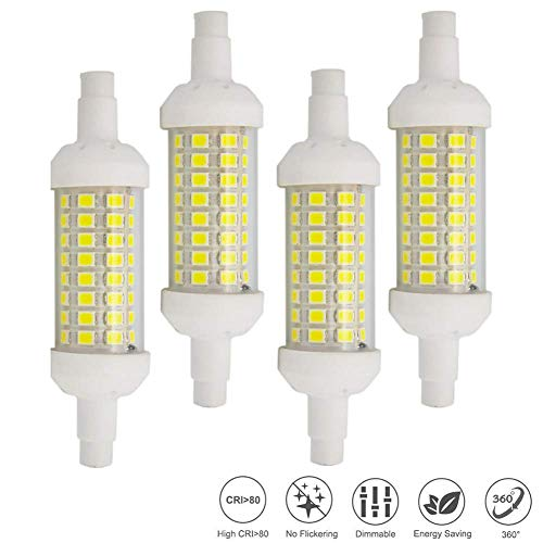 Jumro R7s LED-lamp 78 mm lamp 6 W, 60 W J78 Lineair lamp J Type LED-lampen halogeen schijnwerper vervanging, 4-pack
