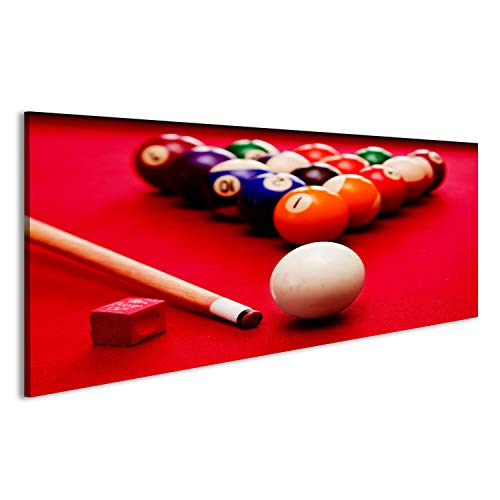 bilderfelix® Billards Pool Spiel. Cue Ball, Cue, Farbkugeln im Dreieck, Kreide. Roter Tuch Ti Wandbild Leinwandbild Poster DDN