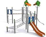Loggyland Spielanlage METALLIC V mit Brücke, Leitern, Rutsche und Klettermöglichkeiten - für...
