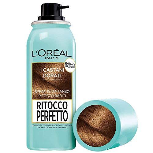 L'Oréal Paris Ritocco Perfetto Spray Ritocco Radici, Colorazione Ricrescita, Copre i Capelli Bianchi e Dura 1 Shampoo, Castano Dorato, 75 ml