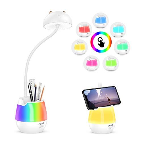 Aerb Schreibtischlampe Kinder Led Bettlampe USB Wiederaufladbar Leselicht Touch-Schalter Dimmbar Schreibtischleuchte mit Nachtlicht für Arbeiten, Studieren -Weiß