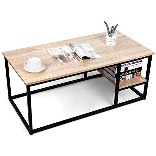 Amzdeal Coffee Table for Living Room, Living Room Table with Shelf, Mordern Rectangular Wood Table,...