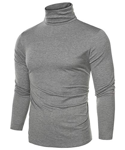 Coofandy Mens Casual Basic Thermal Turtleneck Slim Fit Pullover Thermal Sweaters Gray Large