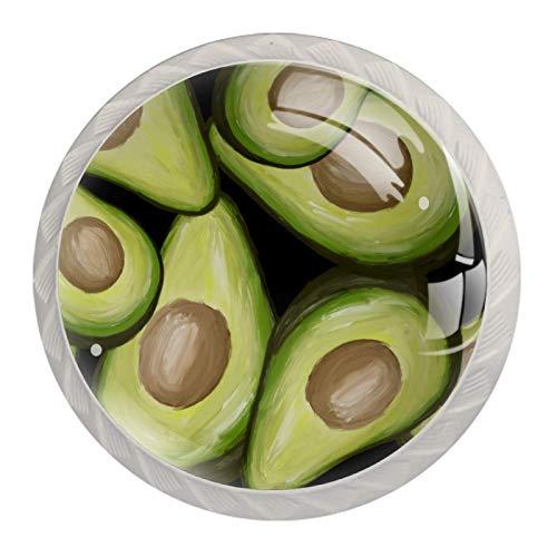 [4 pz]Manopole per armadio da cucina in tinta unita, quadrate con cassetti e maniglie per armadietto, tira avocado, verde frutta