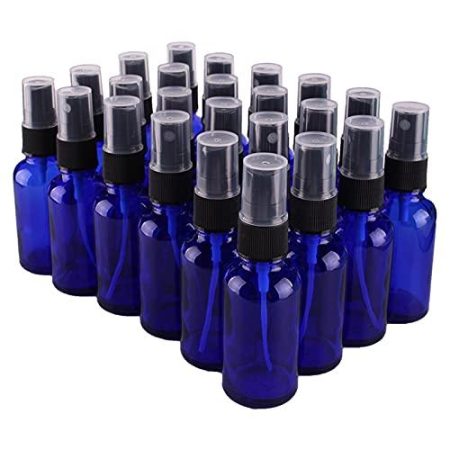 24 unids 30 ml de cobalto Botella de espray de vidrio azul con pulverizador de neblina fina negra Botellas de aceite esencial Vacío Recipientes cosméticos Especias Recipientes de caja de almac