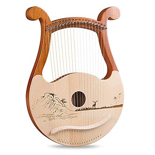 19 strängar Lyre Harp, massivt trä mahognykropp, unika mönster, snidade fonetiska symboler, med stämningsnyckel, extra stränguppsättning, musikmanual (färg: Stil B)