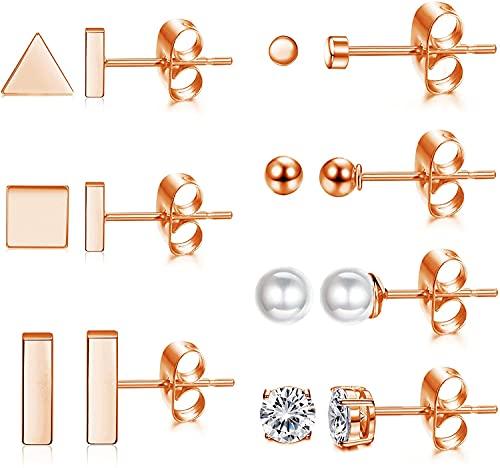 CASSIECA 7 Pares Aretes de Acero Inoxidable para Mujer Hombre Redonda Con CZ CúBica Pendientes de Perlas Pendientes de Barra Cuadrada de TriáNgulo Circular Pendientes de Cartilago Tragus PequeñOs